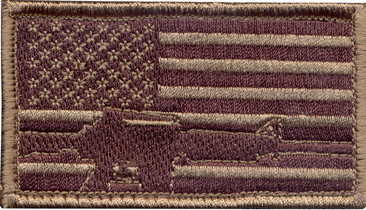 Subdued US Flag and Rifle Embroidered Patch 1-7/8