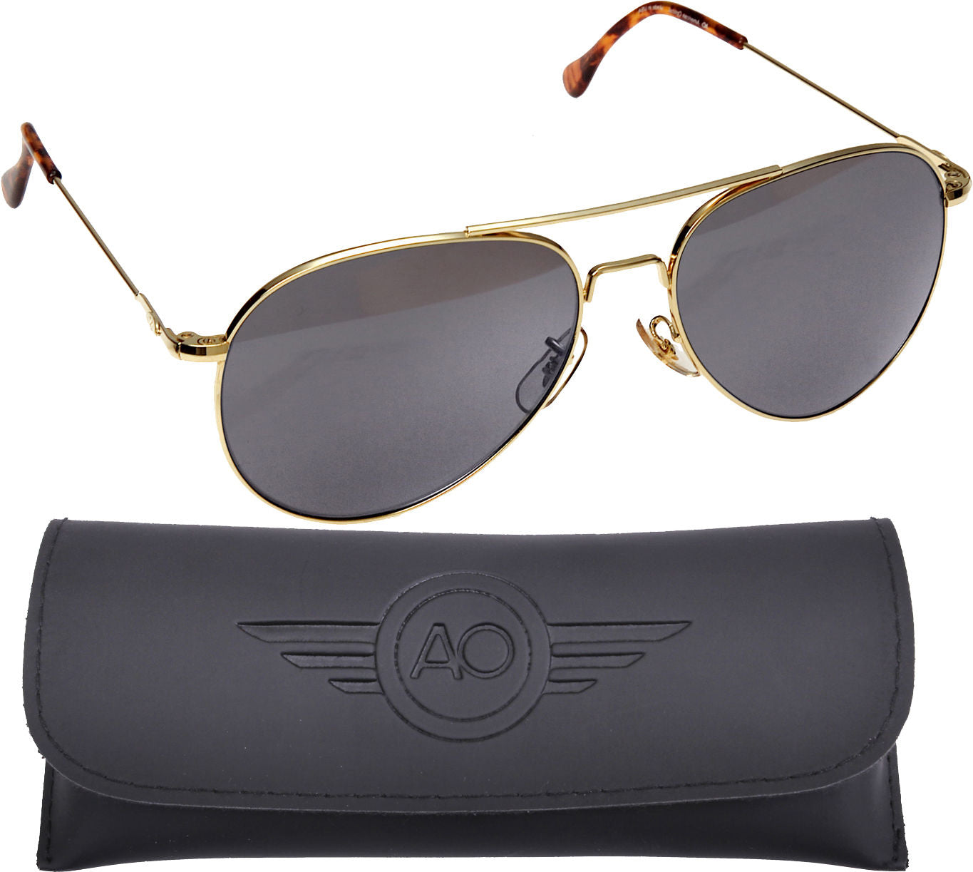 AO Eyewear Gold Aviators 58mm Grey Lenses, Milspec Air Force Pilot Sunglasses