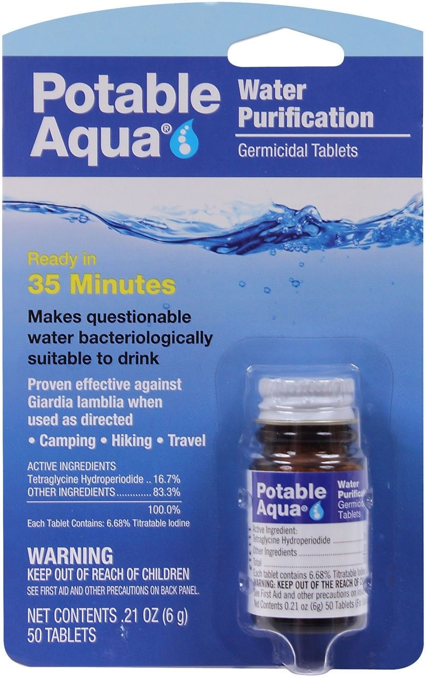 Potable Aqua Water Purification Tablets - 50 Pack