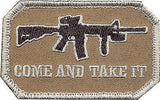 Brown Military Come & Take It Patch w/ Hook Back