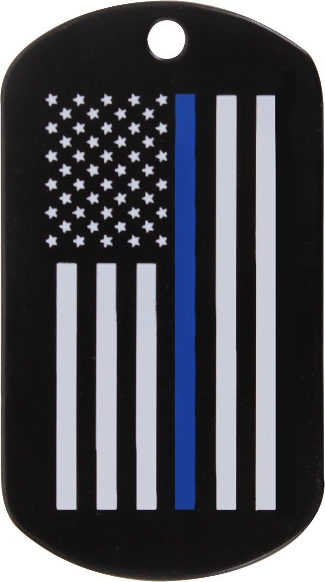 Matte Black Thin Blue Line Police Subdued US Flag Graphic Military Dog Tag