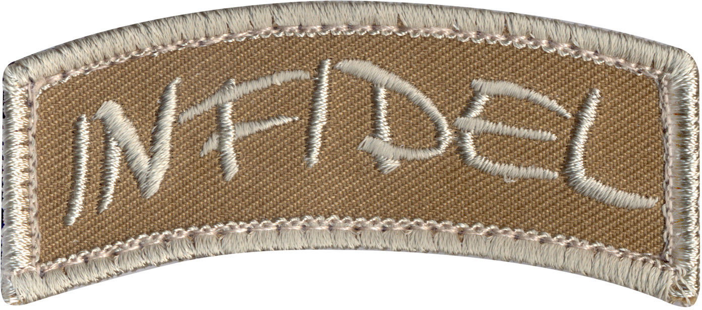 Infidel Name Tape Morale Patch with Hook Back 3