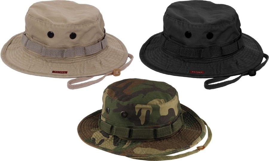 Heavy Duty Poly Cotton Thick Boonie Fishing Jungle Hat With Wide Brim