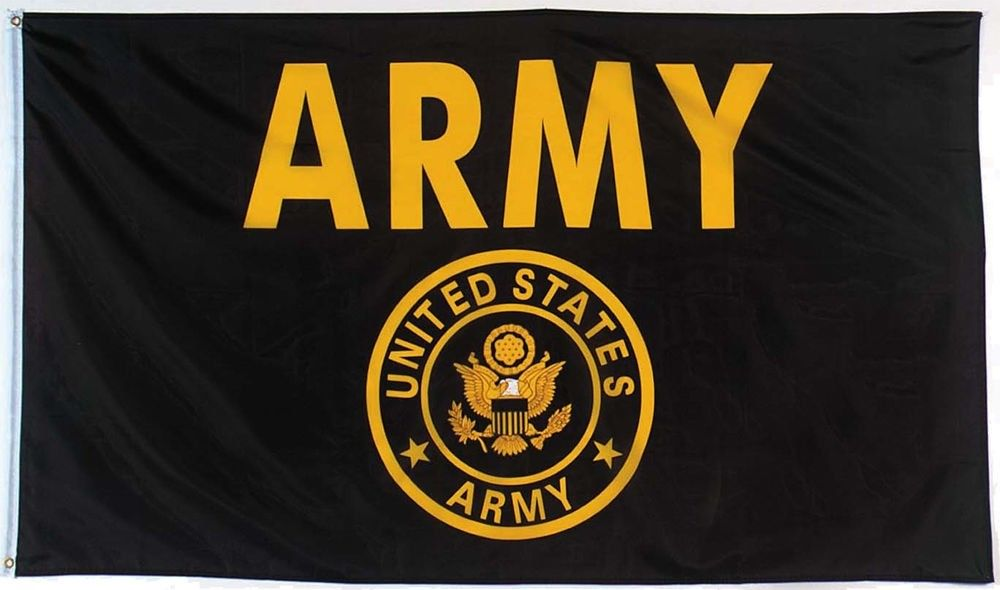 US Army Black & Gold Epluribus Unum Army Seal Logo 3' x 5' Flag