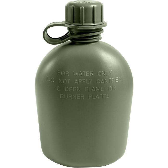 Olive Drab - Genuine GI 3 Piece 1 Quart Canteen - Plastic USA Made