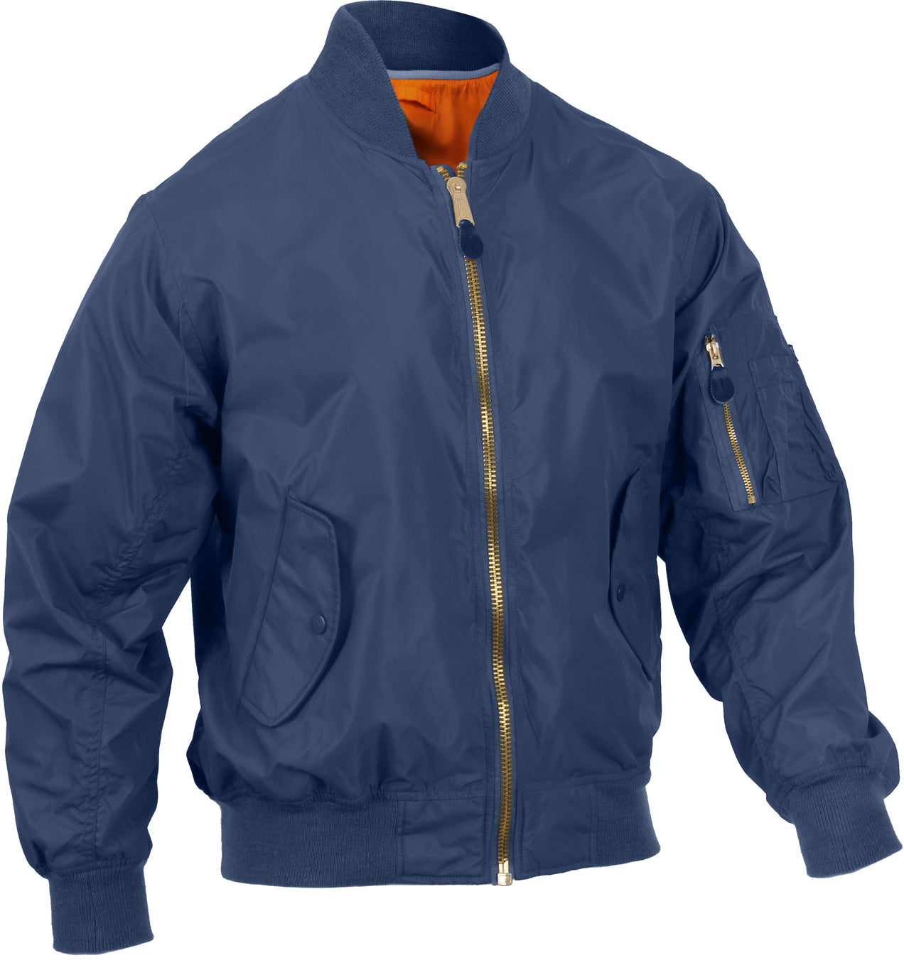 Navy Blue - Lightweight Air Force MA-1 Reversible Bomber Coat Flight Jacket