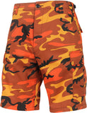 Savage Orange Camouflage  - Military Cargo BDU Shorts (Polyester/Cotton Twill)