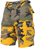 Yellow Camouflage  - Military Cargo BDU Shorts (Polyester/Cotton Twill)