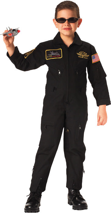 Black - Kids Military Top Gun Flight Coveralls with Patches