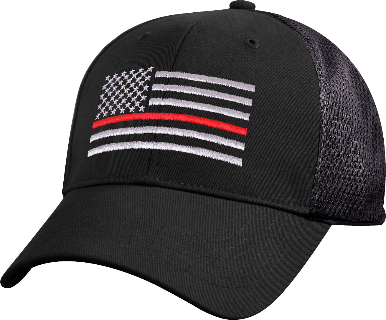 Black - Thin Red Line Mesh Back Tactical Cap