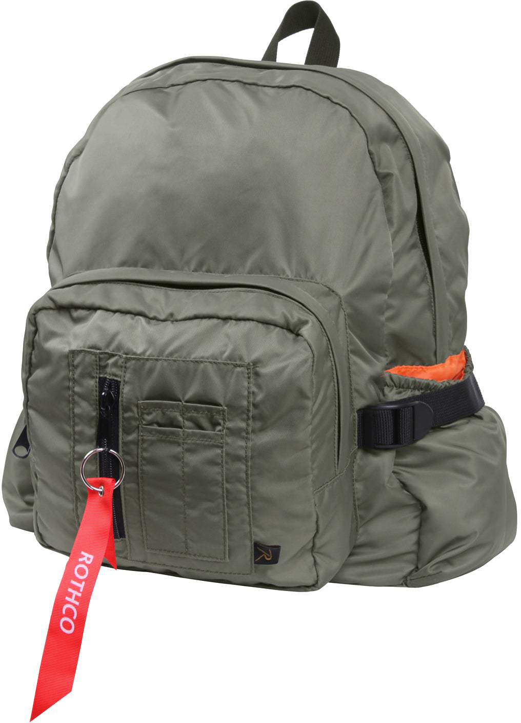 Sage Green - MA-1 Bomber Jacket Mini Backpack with Orange Lining