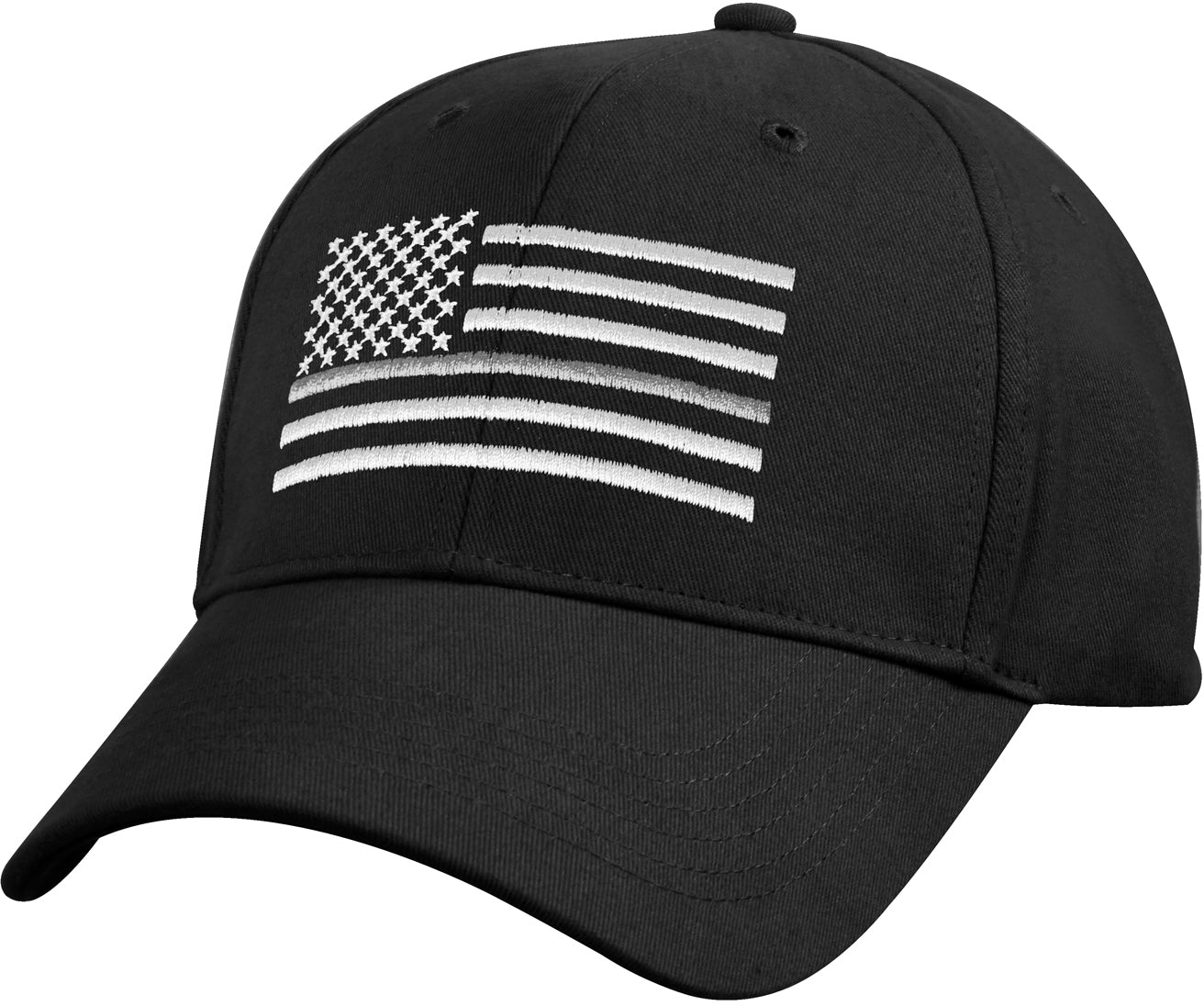 Black - Thin Silver Line Flag Low Pro Cap