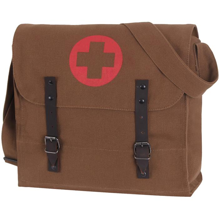 Brown - Vintage Medic Shoulder Bag With Red Cross Emblem