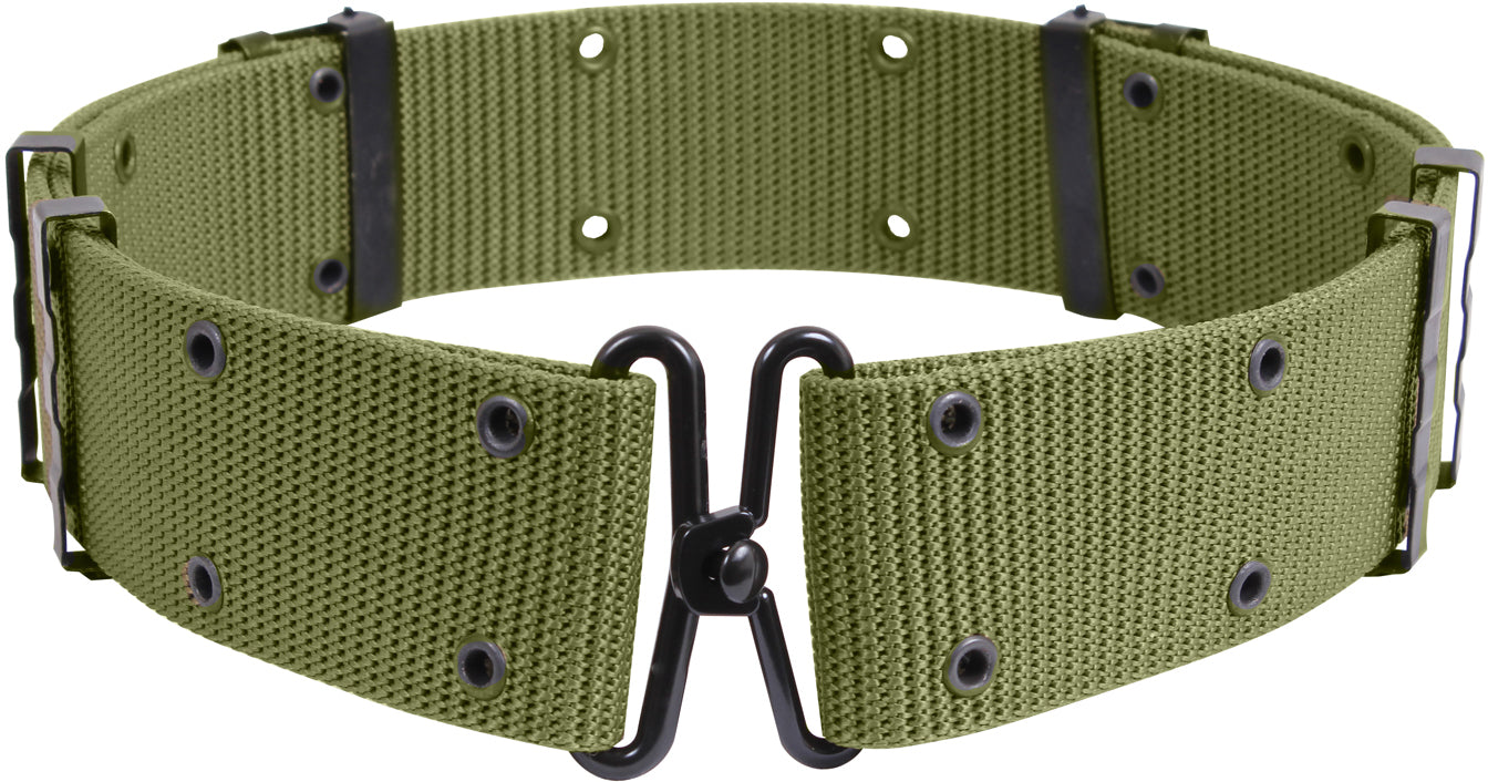 Olive Drab - Army Style Pistol Belt with Metal Buckle (Nylon)