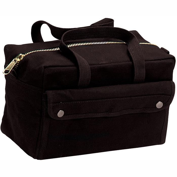 Black - Military GI Style Mechanics Tool Bag with Brass Zipper - Cotton Canvas