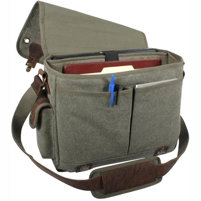 Olive Drab - Trailblazer Laptop Bag with Leather Accents