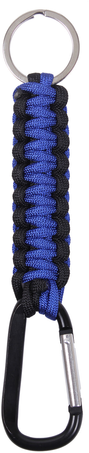 Thin Blue Line Paracord Keychain With Carabiner