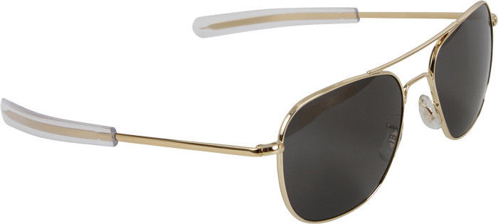 Gold Aviator Sunglasses Air Force Style American Optics Grey Lenses with Case