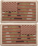 Multi Cam USA Flag Military Hook & Loop American Flag Patch SET - 2 PATCHES!