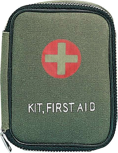 Olive Drab - Military Zipper First Aid Kit with Contents