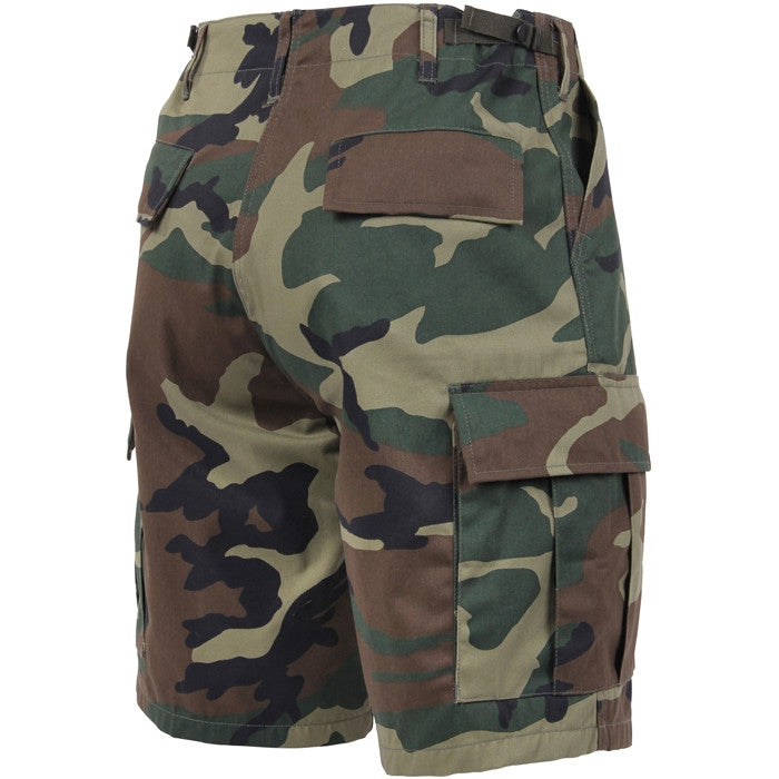 Woodland Camouflage - Military Cargo BDU Shorts - Polyester Cotton Twill