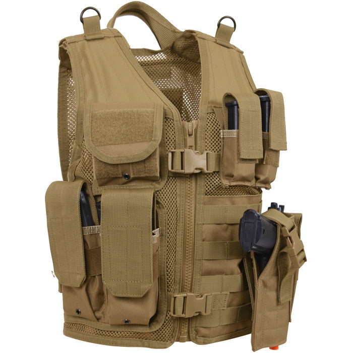 Coyote Brown - Kids MOLLE Compatible Cross Draw Tactical Vest
