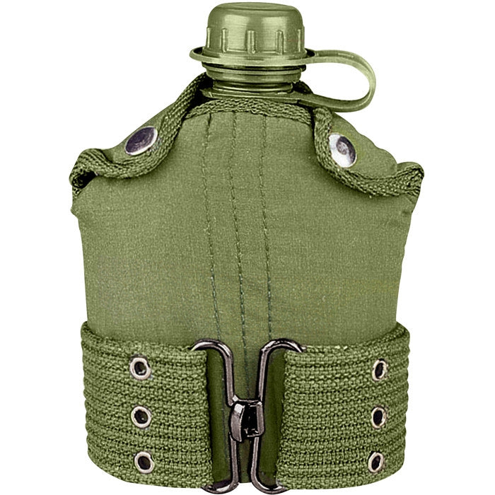 Olive Drab - Military GI Style 1 Quart Plastic Canteen with Pistol Belt Kit