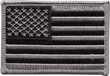 Black Silver - US Flag Sew On Patch