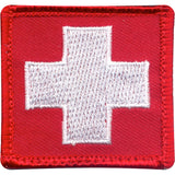 White Cross on Red Patch with Hook Back