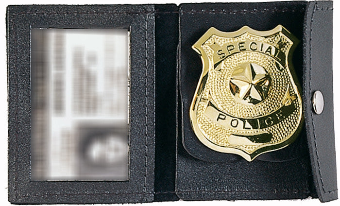 Black - Law Enforcement ID and Badge Holder - Leather