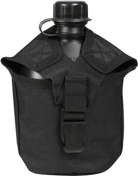 Black - Military MOLLE Compatible 1 Quart Canteen Cover