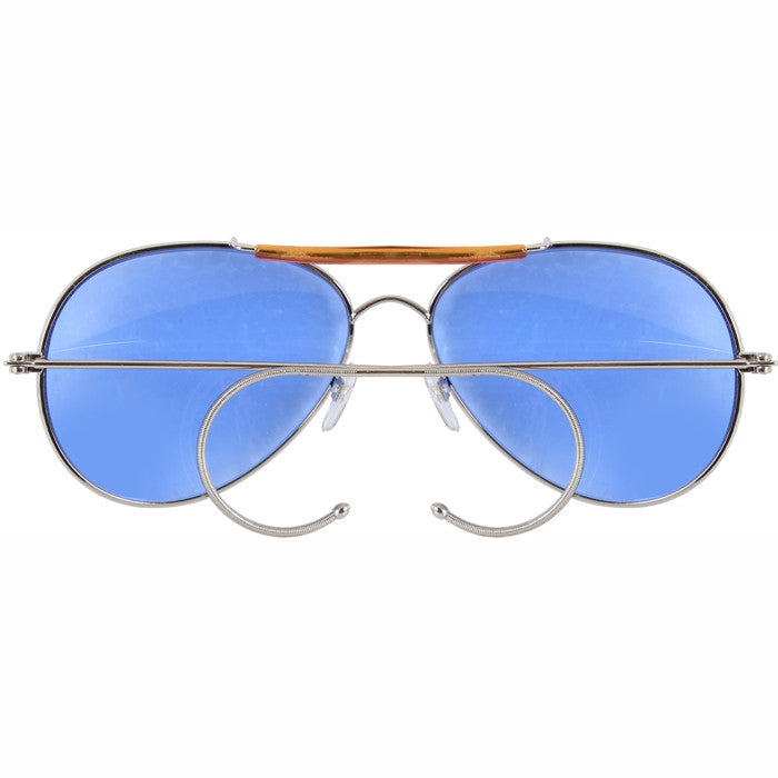 Blue Lenses - US Air Force Style Aviator Sunglasses with Case