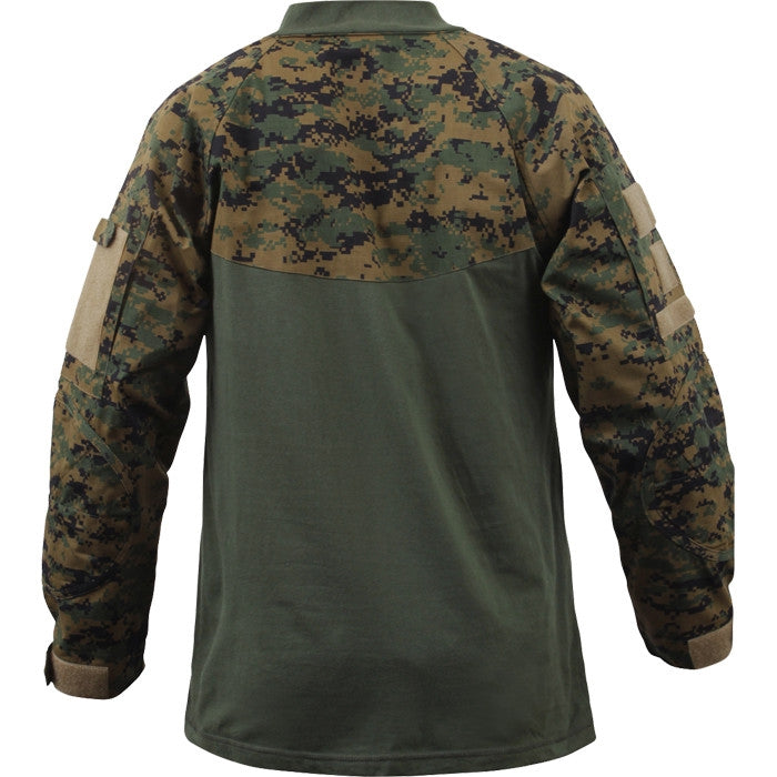 Digital Woodland Camouflage - Military Tactical Lightweight Flame Resistant Combat Shirt