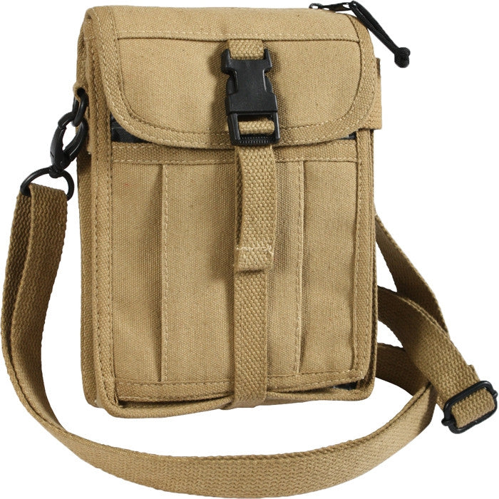 Khaki - Tactical Canvas Travel Portfolio Shoulder Bag