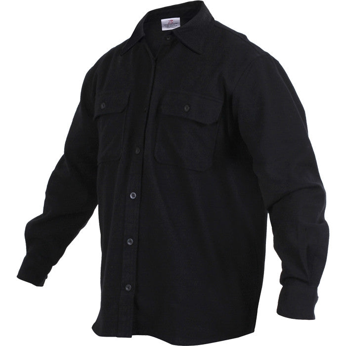 Black - Heavy Weight Solid Flannel Shirt