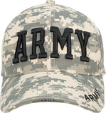 ACU Digital Camouflage - ARMY Deluxe Adjustable Cap with Black Lettering