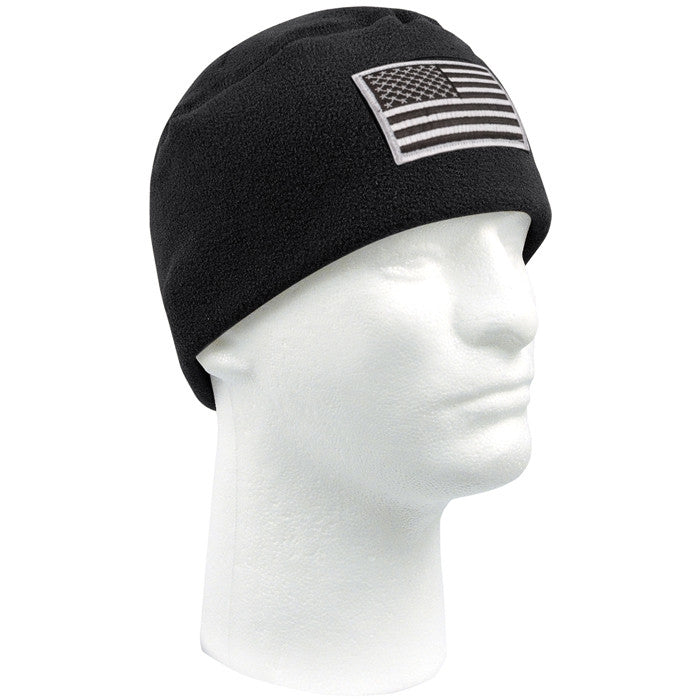 Black - Military Polar Fleece Watch Cap with Patch Attachment