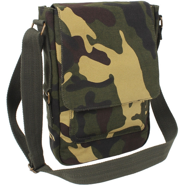 Woodland Camouflage - Vintage Canvas Military Tech Bag