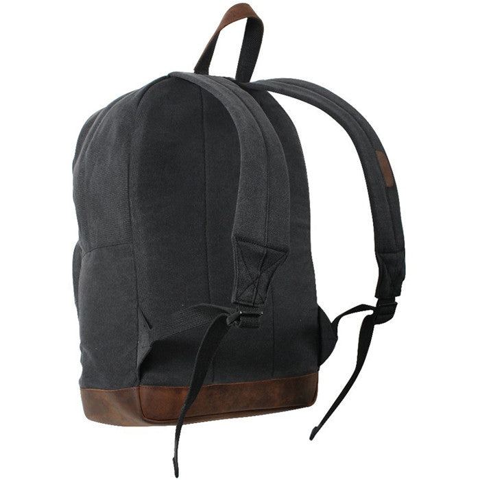 Black   Brown - Vintage Canvas Teardrop Backpack with Leather Accents