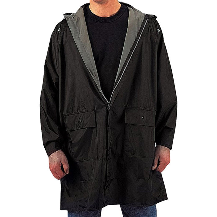 Black To Olive Drab - Reversible Mid Length Rain Parka