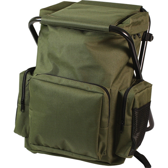 Olive Drab - Military Deluxe Backpack and Foldable Stool Combination - Nylon