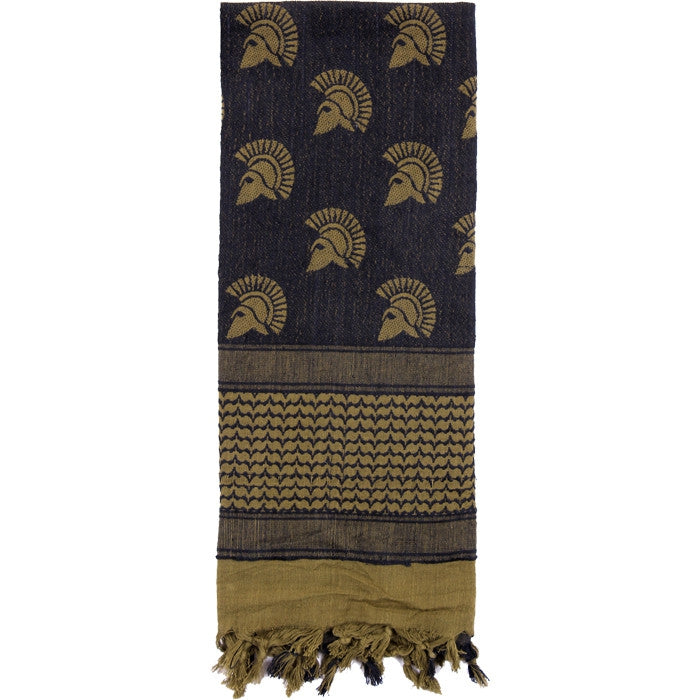 Olive Drab   Black - Spartan Shemagh Tactical Desert Scarf