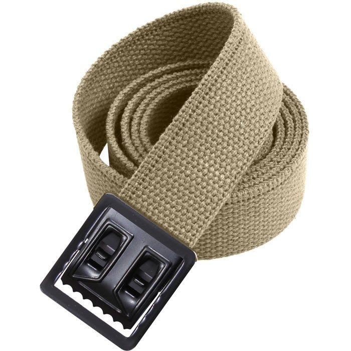 Khaki - Military Web Belt with Black Open Face Buckle