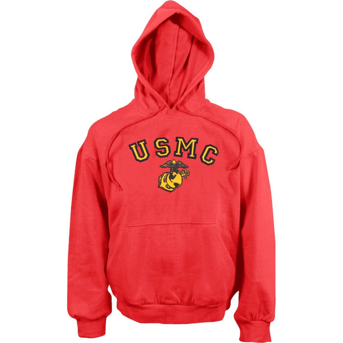 Red - USMC Pullover Hooded Sweatshirt