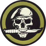 Military Skull And Knife Patch with Hook Back