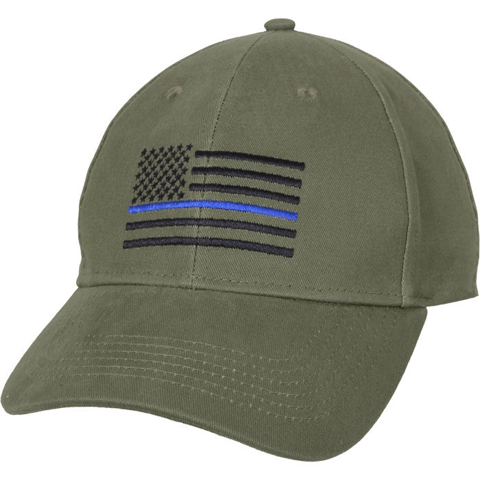 Olive Drab - Support the Police Blue Line Flag Adjustable Low Profile Cap