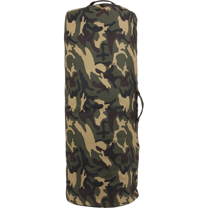 Woodland Camouflage - Military Large Duffle Bag with Side Zipper 25 in. x 42 in. - Cotton Canvas