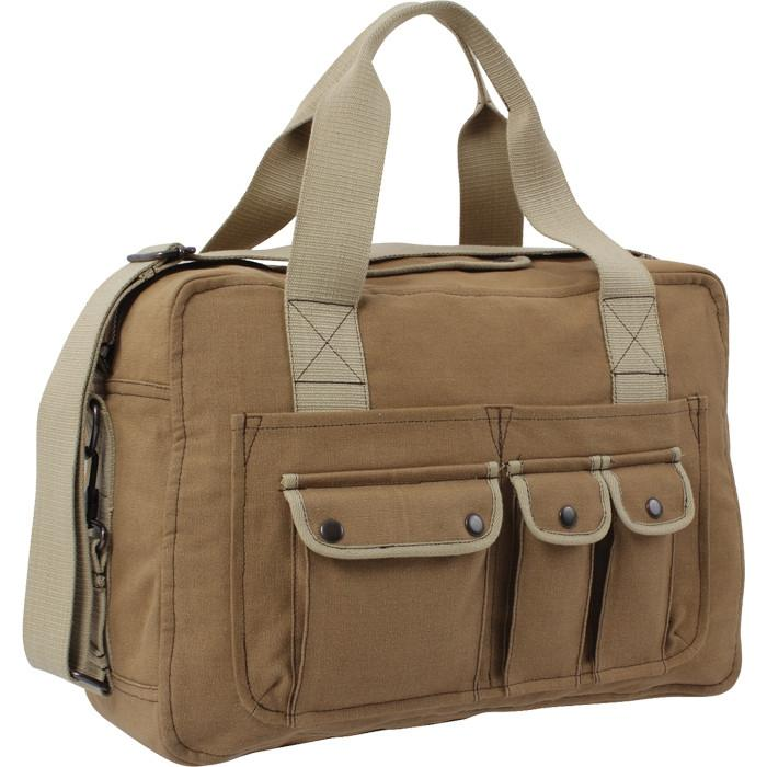 Mocha Brown   Khaki - Vintage Two Tone Canvas Shoulder Tool Bag
