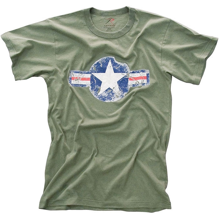 Olive Drab - Military Vintage T-Shirt with Army Air Corp Star Emblem