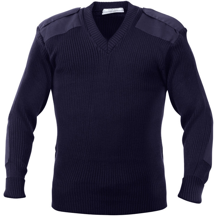 Navy - Military GI Style V-Neck Commando Sweater - Acrylic